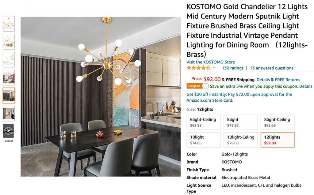 A gold Sputnik chandelier sits above a dining room table in this screenshot taken from Amazon.